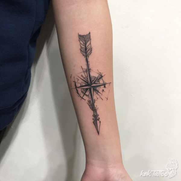 凱克刺青作品-羅盤箭矢